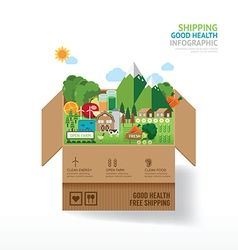 Infographic health care concept open box with farm vector