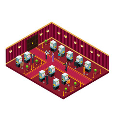 isometric casino interior room template vector image