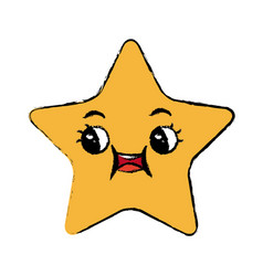 kawaii star cartoon cute facial expression vector image