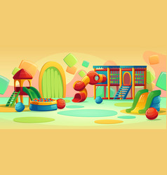 Kids playground with carousel and slide vector