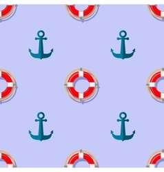 Lifebuoy and Anchor Icons Nautical Pattern vector image