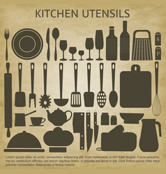 logo kitchen icons set vector image