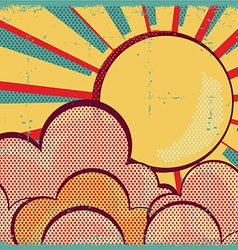 louds and sunRetro nature sky on old paper texture vector image vector image