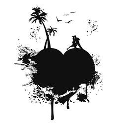 love heart island vector image