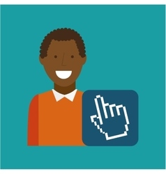 man afroamerican using laptop cursor media icon vector image