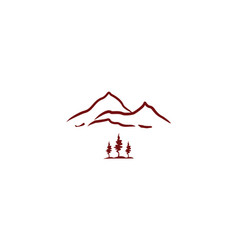 mountains line art logo icon vector image