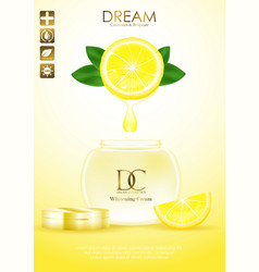 Natural skin care products with leaves and lemon vector