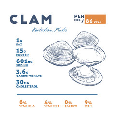 Nutrition facts clam hand draw sketch vector
