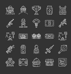 online game inventory chalk icons set shooter vector image