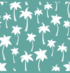 palm tree silhouettes seamless pattern teal vector image