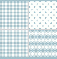 Pastel blue plaid seamless pattern collection vector
