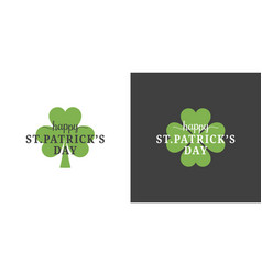 patrick day logo set on black and white background vector image