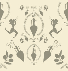 pattern of ancient greek amphora girls and olive vector image