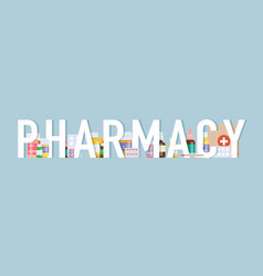 pharmacy background medical pills and bottles vector image