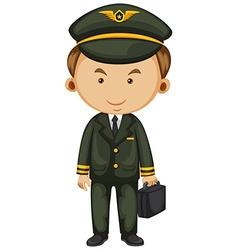 Pilot in black uniform vector