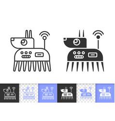 Robot dog simple black line icon vector