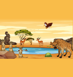 Scene with many animals pond vector