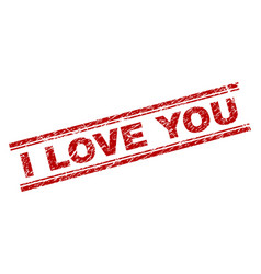 scratched textured i love you stamp seal vector image
