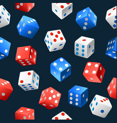 Seamless pattern playing dice falling in vector