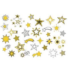 set cartoon stars isolated vector image
