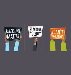 set hands holding blackout tuesday i cant breathe vector image
