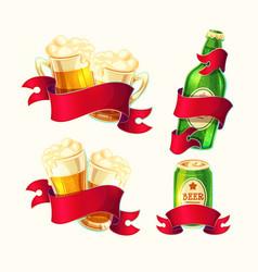 Set isolated cartoon beer vector