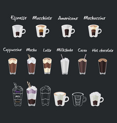 Set of coffee menu with a cups of coffee drinks vector