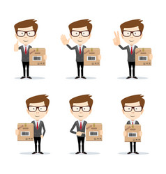 set of funny cartoon office worker in various vector image