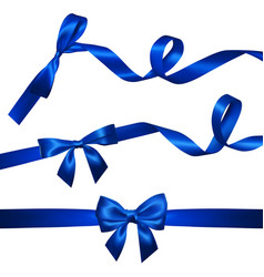 Set of realistic blue bow with long curled blue vector