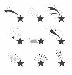 Shooting falling stars icons icons meteorites vector