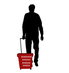 silhouette a man walking with shopping basket vector image