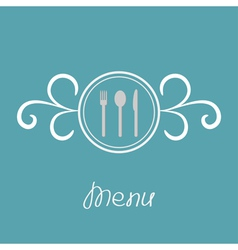 Silver fork knife spoon inside round calligraphic vector image