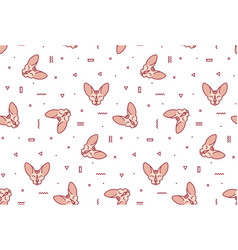 Simple pattern with pink cats and geometric shapes vector