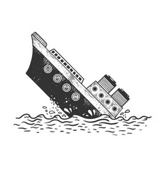sinking steamboat ship sketch engraving vector image