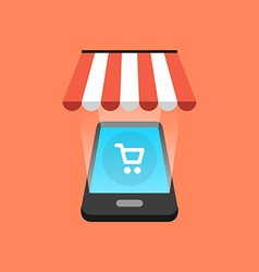 Smartphone shopping concept Isometric design vector