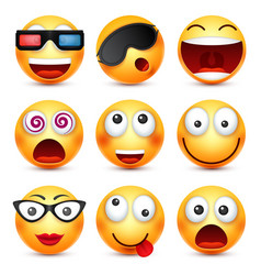 Smiley set with 3d glassessmiling emoticon vector