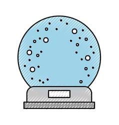 Snowglobe glass falling snow decorative vector