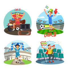 soccer or football fans celebrating and cheering vector image