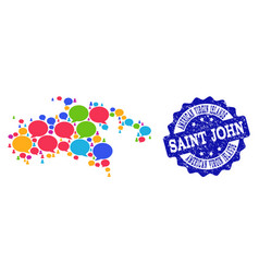 Social network map of saint john island with talk vector