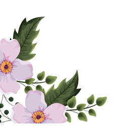 Spring flowers with leaves vector