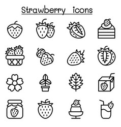 strawberry icon set in thin line style vector image