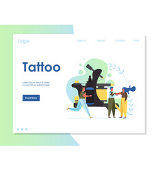 tattoo website landing page design template vector image