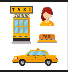 Taxi cab isolated white vector
