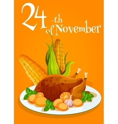 Thanksgiving traditonal turkey dinner poster vector image
