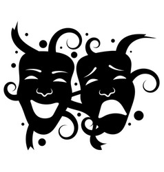theatre masks drama and comedy for vector image