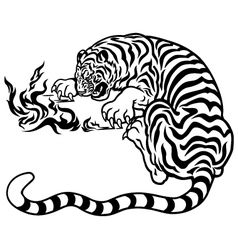 Tiger with fire black white vector