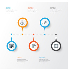 Travel icons set collection of moving staircase vector