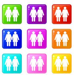 Two girls lesbians set 9 vector