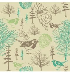 vintage forest birds pattern vector image
