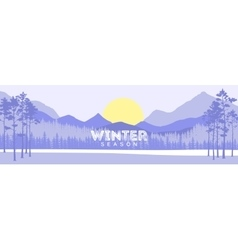 Winter scene with river and forest vector